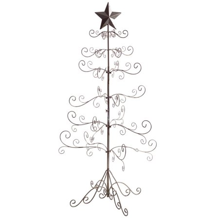 49 antique silver wire swirling branches christmas tree with star decoration - Antique Silver Christmas Decorations