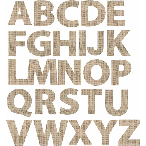 Adhesive Die-Cut Burlap, Alphabet, Natural, 2 Packs