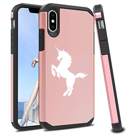 brand new 654ec 81b5c Shockproof SI Impact Hard Soft Case Cover Protector for Apple iPhone  Unicorn (Rose-Gold, for Apple iPhone X/iPhone Xs)