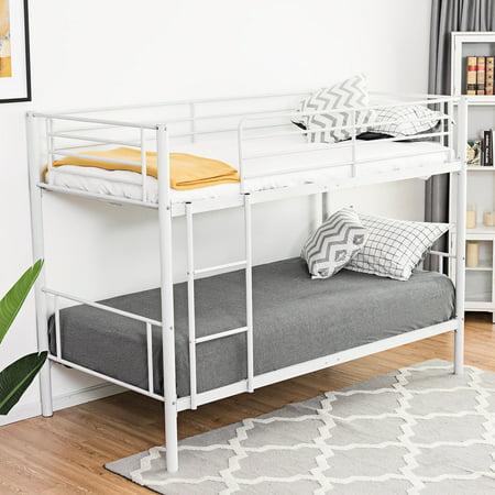 Gymax Twin Over Twin Bunk Bed Metal Frame Ladder Kids Adult Children Bedroom Dorm