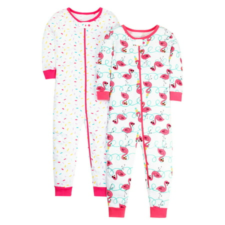 Little Star Organic 100% organic cotton footless stretchies pajamas, 2-pack (baby girls and toddler (100% Perfect Girl)