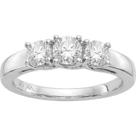 14kt 1.00 Carat 3 Stone Moissanite Band