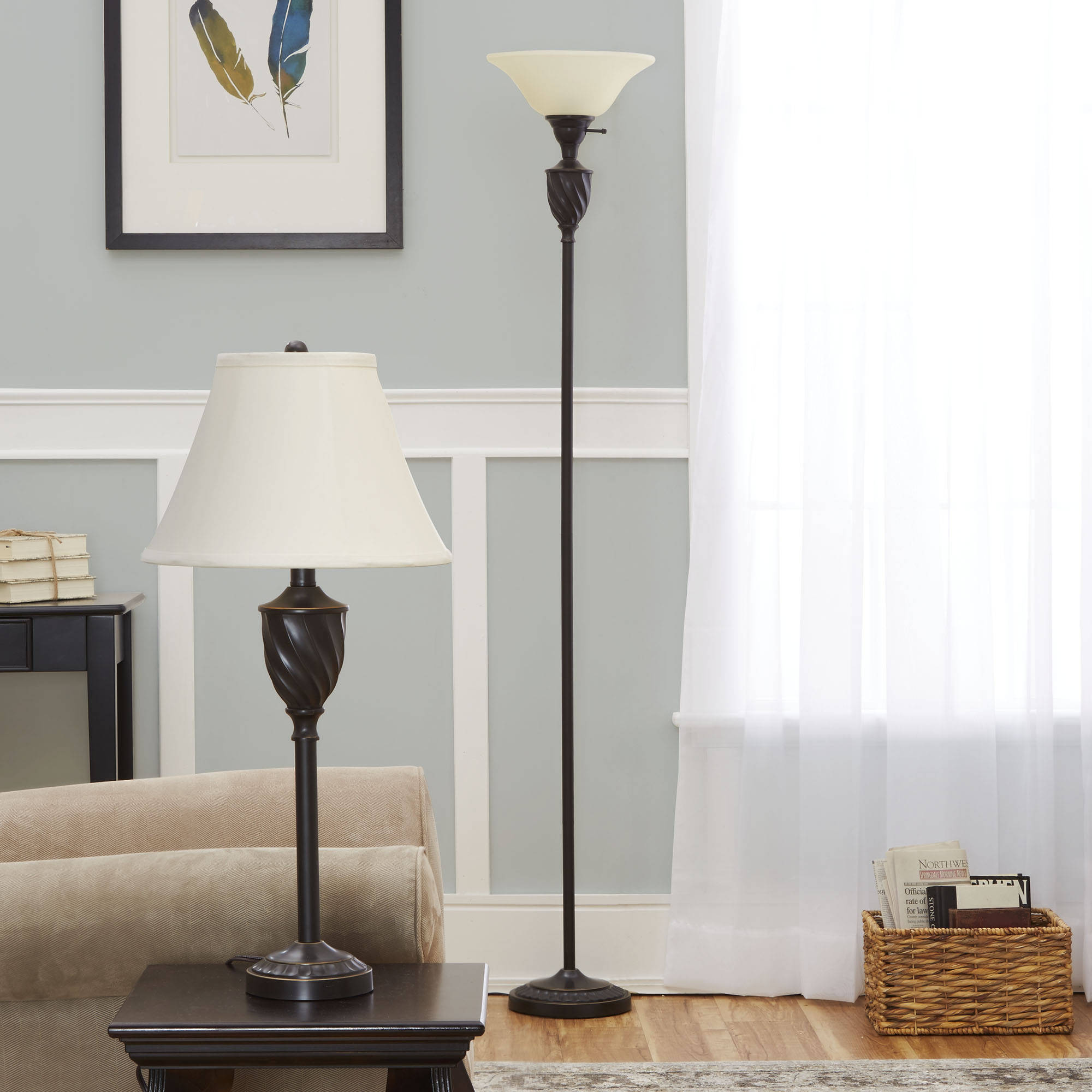 Mainstays Table and Floor Lamp Set with CFL Bulb, Oil-Rubbed Bronze ...
