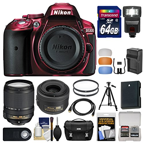 Nikon D5300 Digital SLR Camera Body (Red) with 35mm f/1.8 & 18-140mm VR Zoom Lens   64GB Card   Case   Flash   Battery Kit
