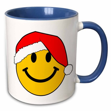 Yellow Santa Hat (3dRose Yellow smiley face with red santa claus hat - merry Christmas happy smilie Cute xmas smile cartoon - Two Tone Blue Mug,)