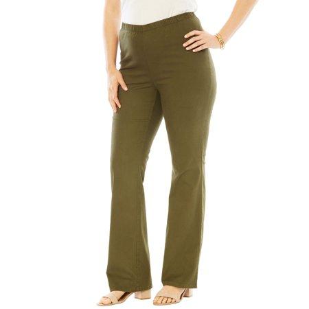 Bootcut Pull (Roaman's Denim 24/7 Plus Size Petite Bootcut Pull-on Stretch Jean )