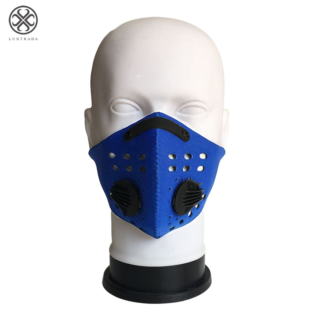 Luxtrada PM2.5 Gas Protection Filter New Anti-Pollution Bike Bicycle Riding Respirator Dust Mask Head Blue