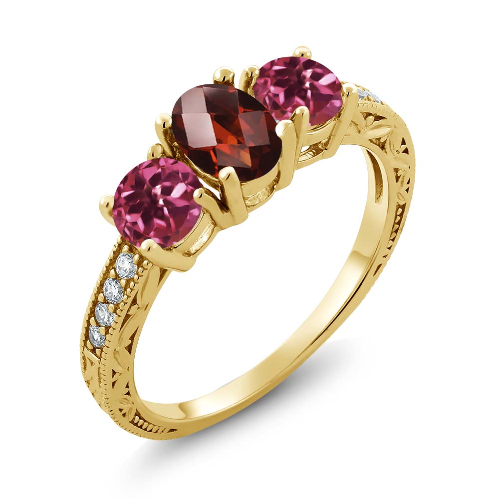 1.92 Ct Oval Checkerboard Red Garnet Pink Tourmaline 18K Yellow Gold Ring by