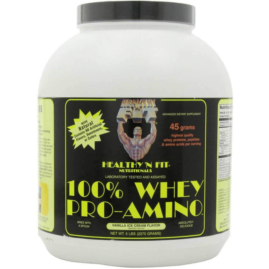 Healthy N Fit 100% Whey Pro-Amino Powder, Vanilla Ice Cream, 5