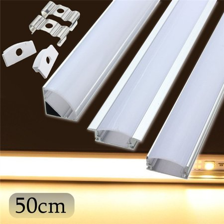 50cm U/V/YW Style LED Bar Lights Aluminum Channel and Diffuser Holder Case Cover End Up for LED Rigid Strip Light Bar Under Cabinet Lamp, Milk,