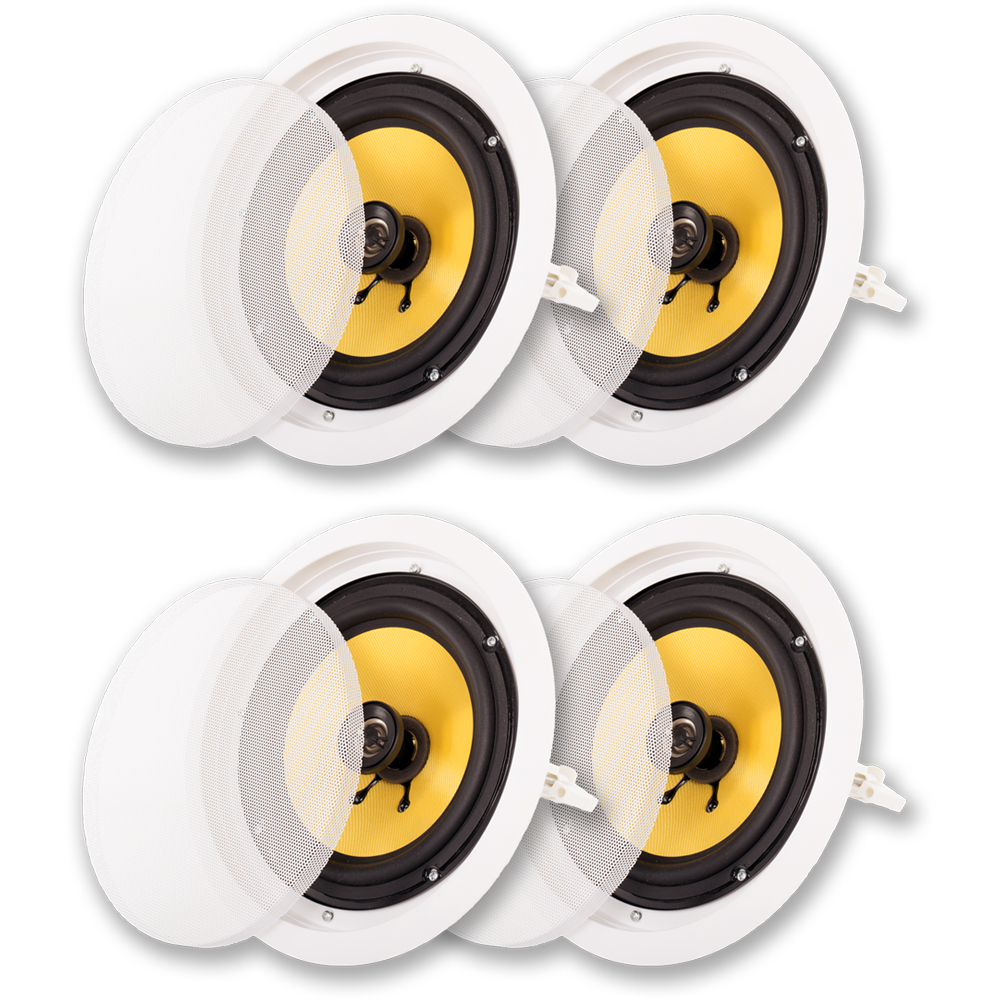 "Acoustic Audio HD-8 In Ceiling 8"" Speakers Home Theater Surround Sound 2 Pair Pack"