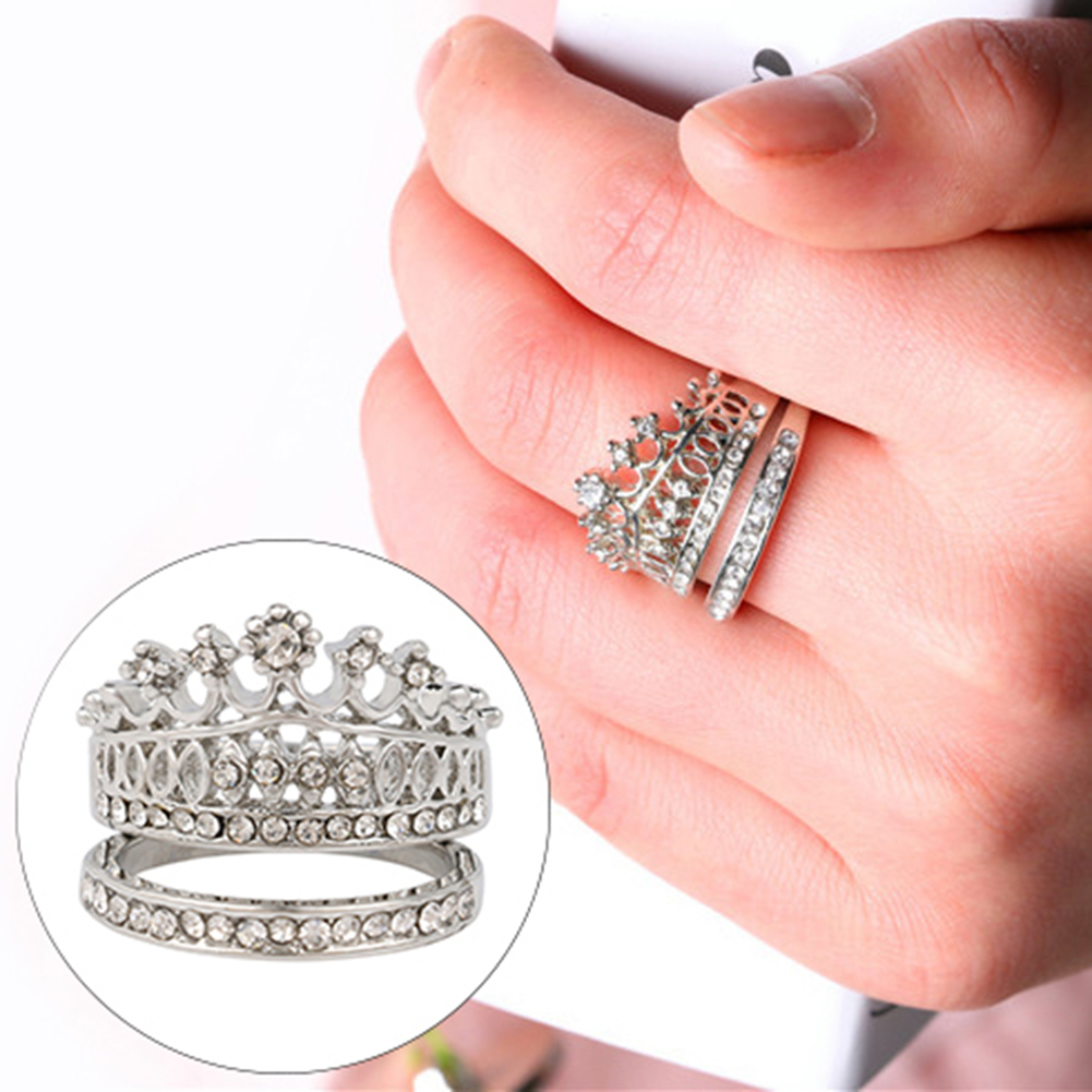 Elegant Rhinestone Crown Double Finger Rings Women Jewelry Wedding ...