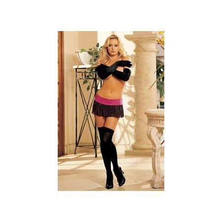 Shirley Hollywood Lace Thigh Highs (Black Opaque Thigh Highs 90042 Shirley of Hollywood Black)