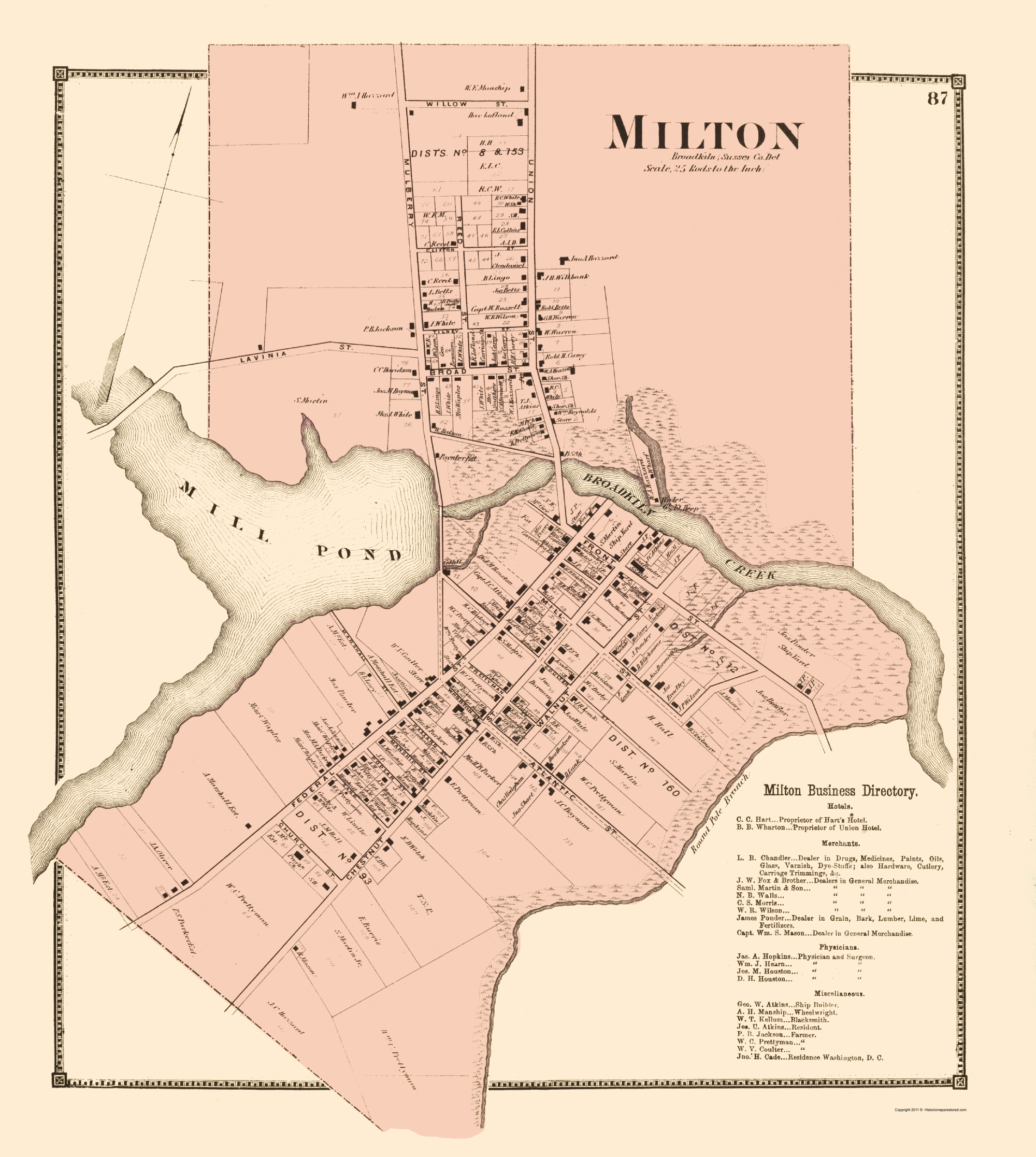 Old City Map Milton Delaware Landowner Beers 1868 23 x 2567
