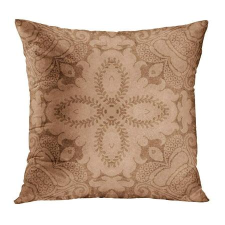 ECCOT Beige Antique Vintage Brown Tan Floral Jacobean Peach Aged Flower Grungy PillowCase Pillow Cover 18x18 inch