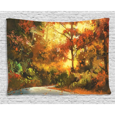 Fantasy Art House Decor Tapestry, Pathway in Autumn Forest with Shady Leaf of Deciduous Trees View, Wall Hanging for Bedroom Living Room Dorm Decor, 60W X 40L Inches, Orange Yellow, by Ambesonne ()