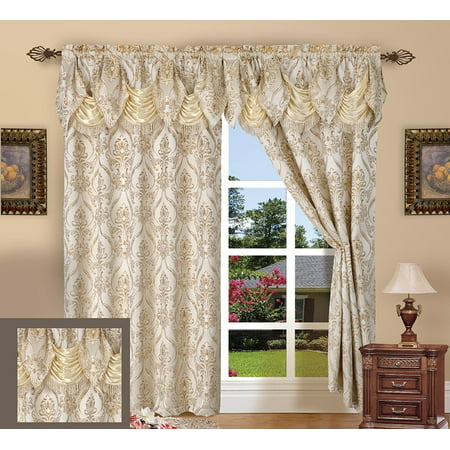 - Elegant Comfort Beautiful Design Jacquard Look Curtain Panels 55