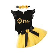Baby Girl 1st Birthday Outfit Party Dresses Sunflower Romper Cake Smash Tutu Skirt Sundress Clothes
