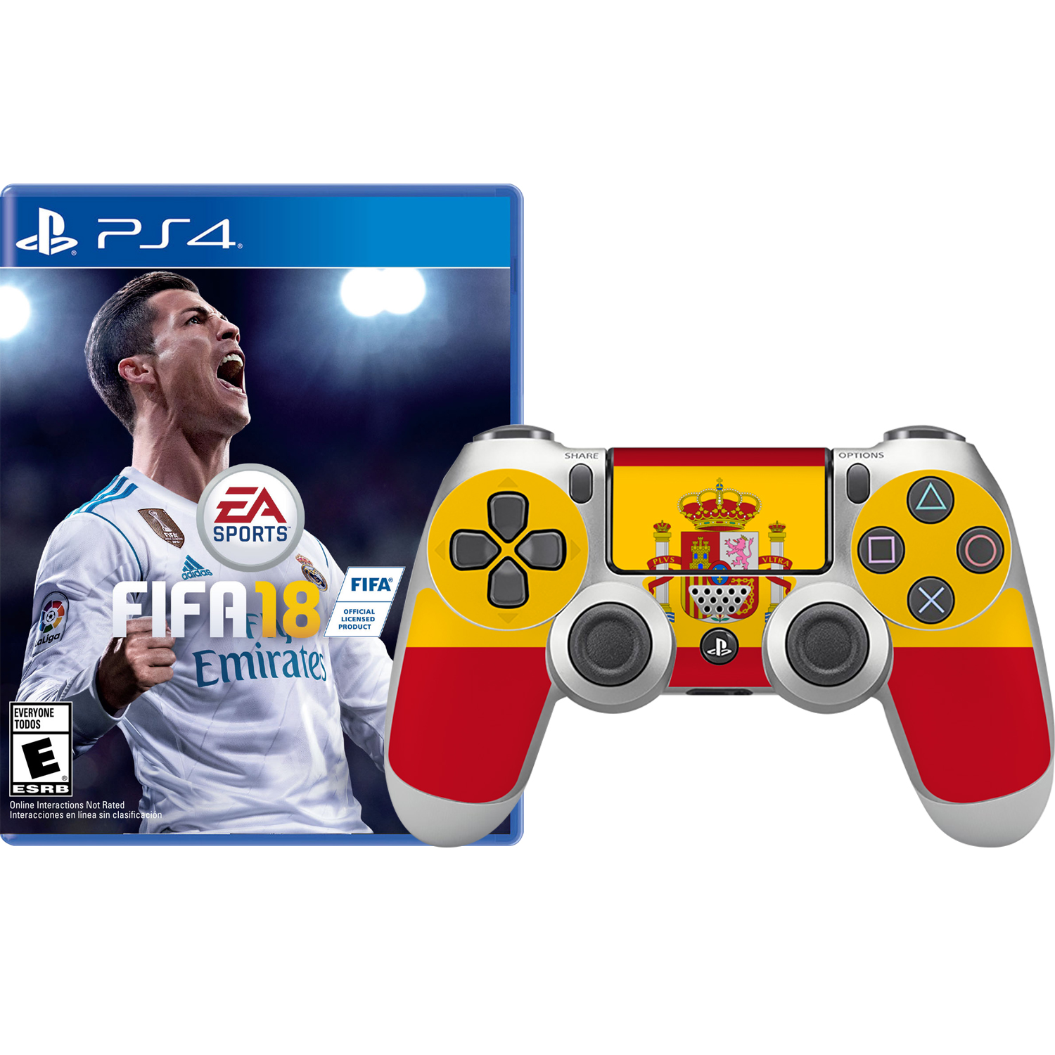 FIFA 18 and Spain Skin Controller, Electronic Arts, PlayStation 4, 696055184958