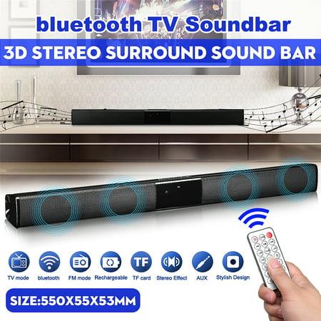22 inch Wireless h 4.1 Soundbar TV Sound Home Theater Wireless Audio Speaker Stereo HIFI Superbass Subwoofer For Computer Desktop Laptop Tablet Smartphone Remote Control ()