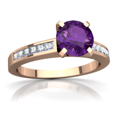 Amethyst Channel Set Ring in 14K Rose Gold by