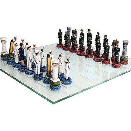 US Army vs Navy Military Chess Set Hand Painted with Glass Board Hand Decorated Chess Set