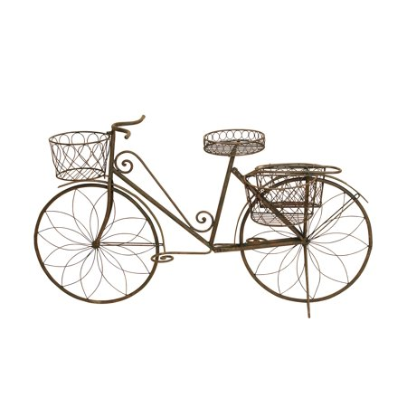 Decmode 31 X 56 Inch Traditional Iron Bicycle Planter, Silver ()