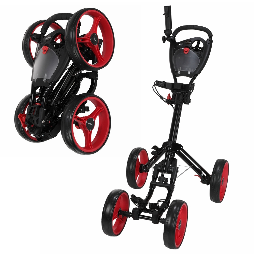 Caddymatic Golf Quad 4-Wheel Folding Golf Pull   Push Cart Black Red by