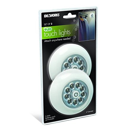 Peel and Stick Battery Operated Touch lights with 9 Bright LED lights, Set of 2, White - Led Batteries