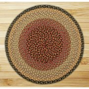 Earth Rugs C-57 Burgundy / Gray / Cream Round Braided Rug 7.75 Feet x 7.75 Feet