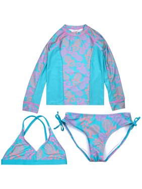 c02200dcb0bfa Product Image Long Sleeve Rashguard and Bikini Swimsuit, 3-Piece Set (Little  Girls & Big