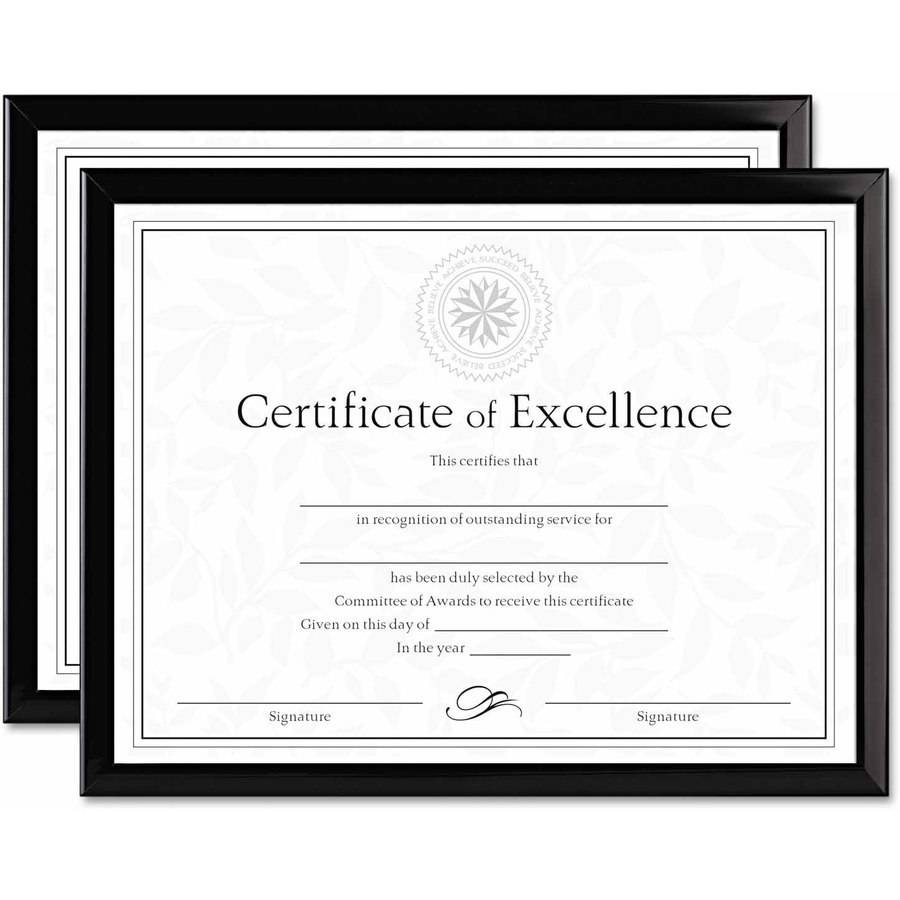 "DAX Value U-Channel Document Frames with Certificates, Set of 2, 8-1/2"" x 11"", Black"