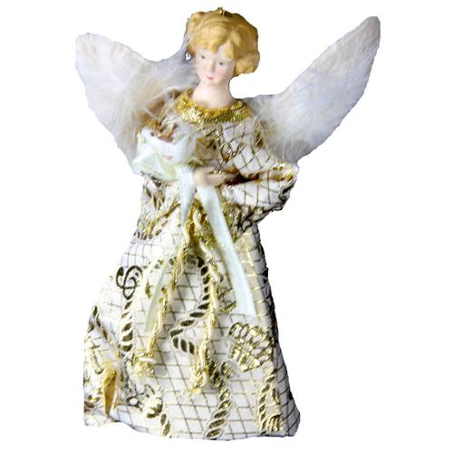 "7"" Cream and Gold Feathered Angel with Flower Christmas Tree Topper - Unlit"