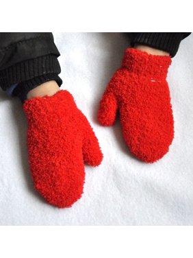 AkoaDa  Winter Toddler Kids Gloves Baby Boy Girl Cute Soft Knitting Mittens Warm Gloves