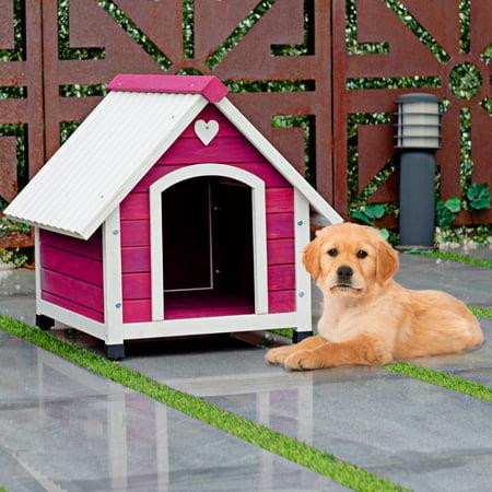 Gymax Wooden Princess Dog House Large/ Medium Pet Shelter Weather Resistant Pink