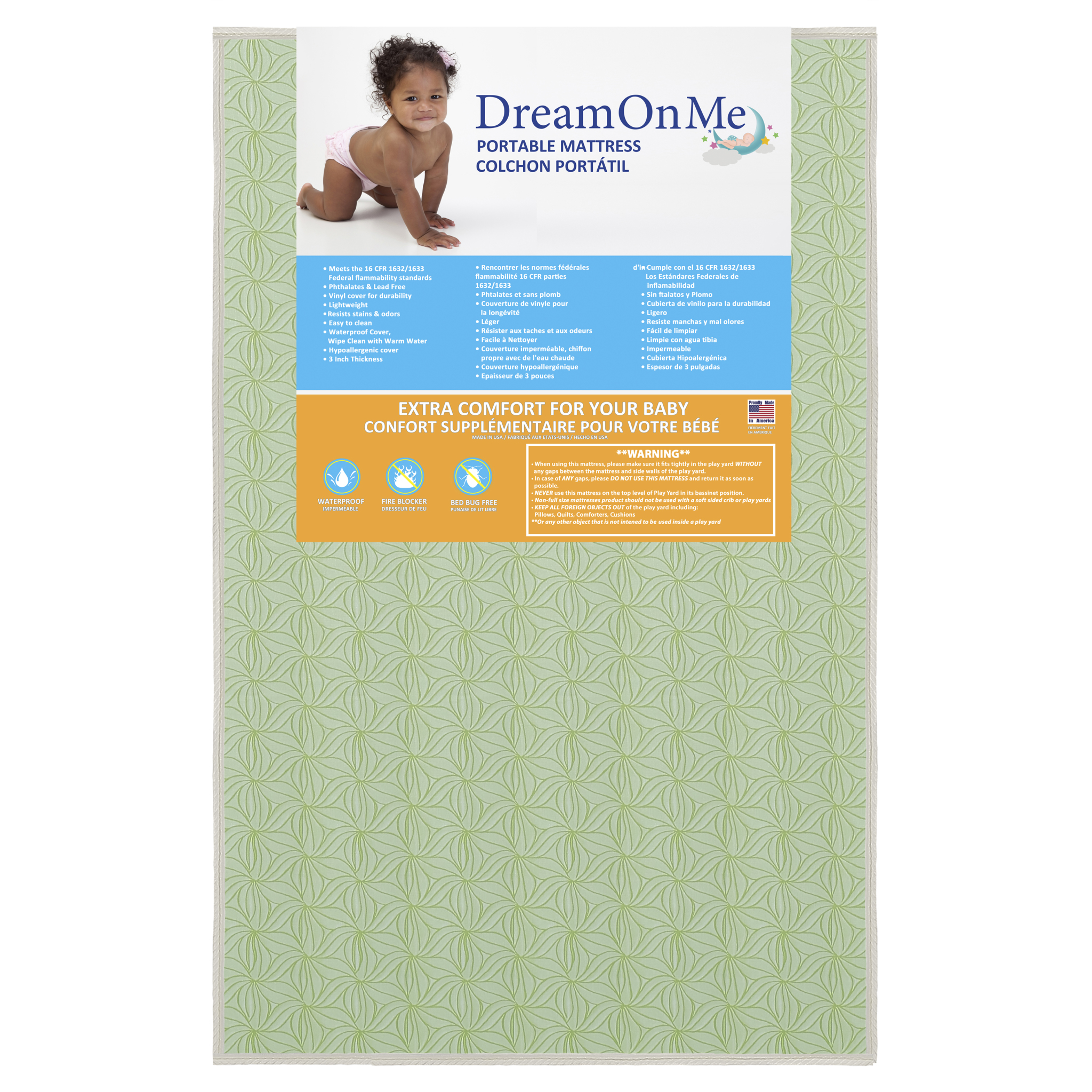 "Dream On Me 3"" Double Sided Play Yard Foam Mattress"