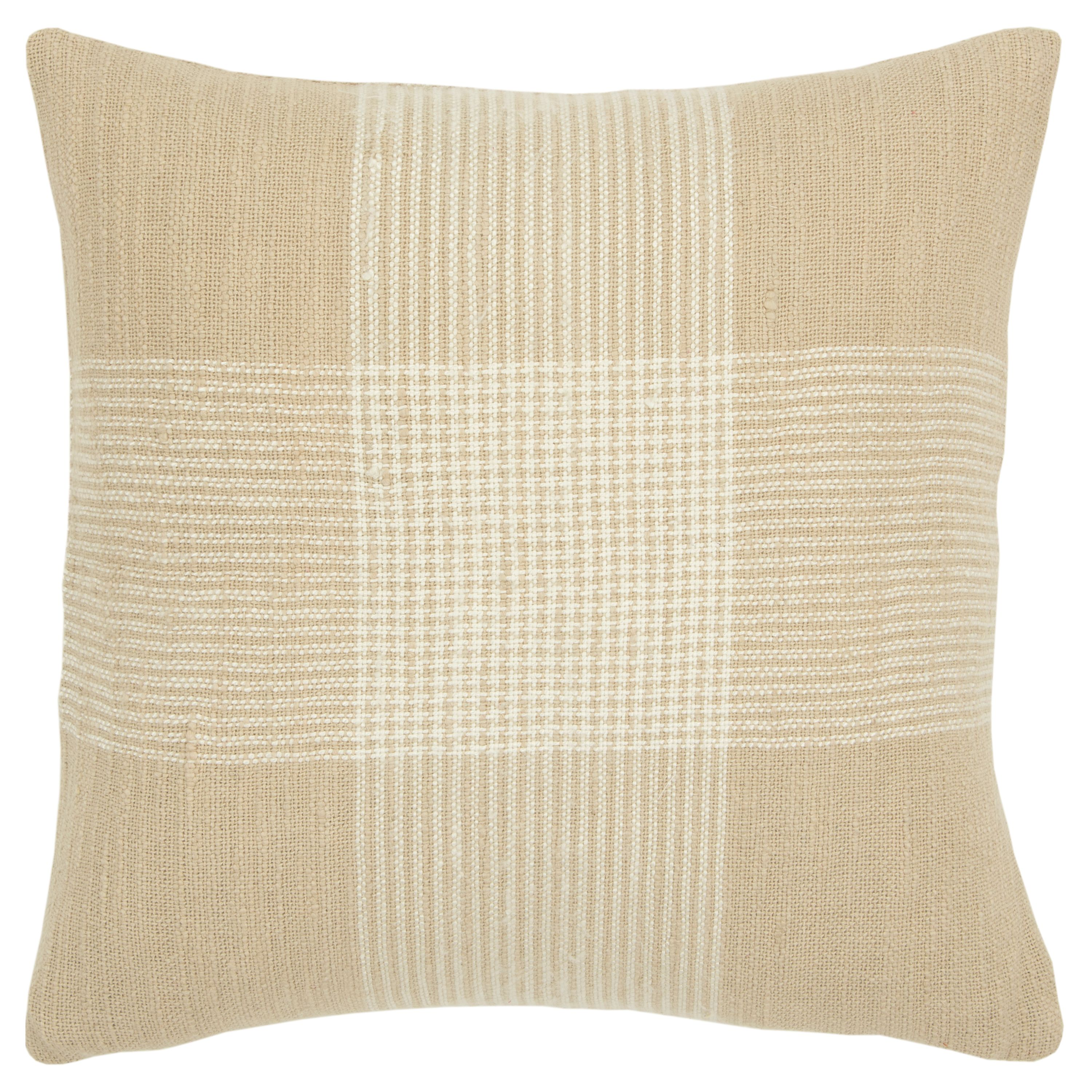 "Rizzy Home Decorative Poly Filled Throw Pillow Plaid 20""X20"" Natural"