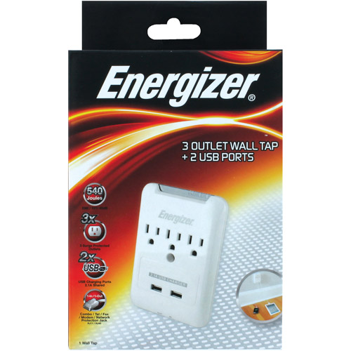 Energizer 3-Outlet Wall Tap with 2 USB Ports, White
