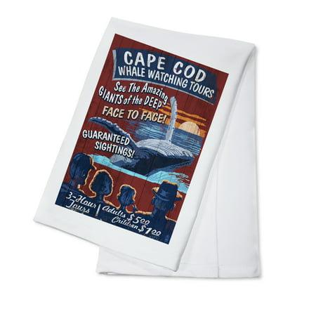 Cape Cod, Massachusetts - Blue Whale Watching Vintage Sign - Lantern Press Artwork (100% Cotton Kitchen -