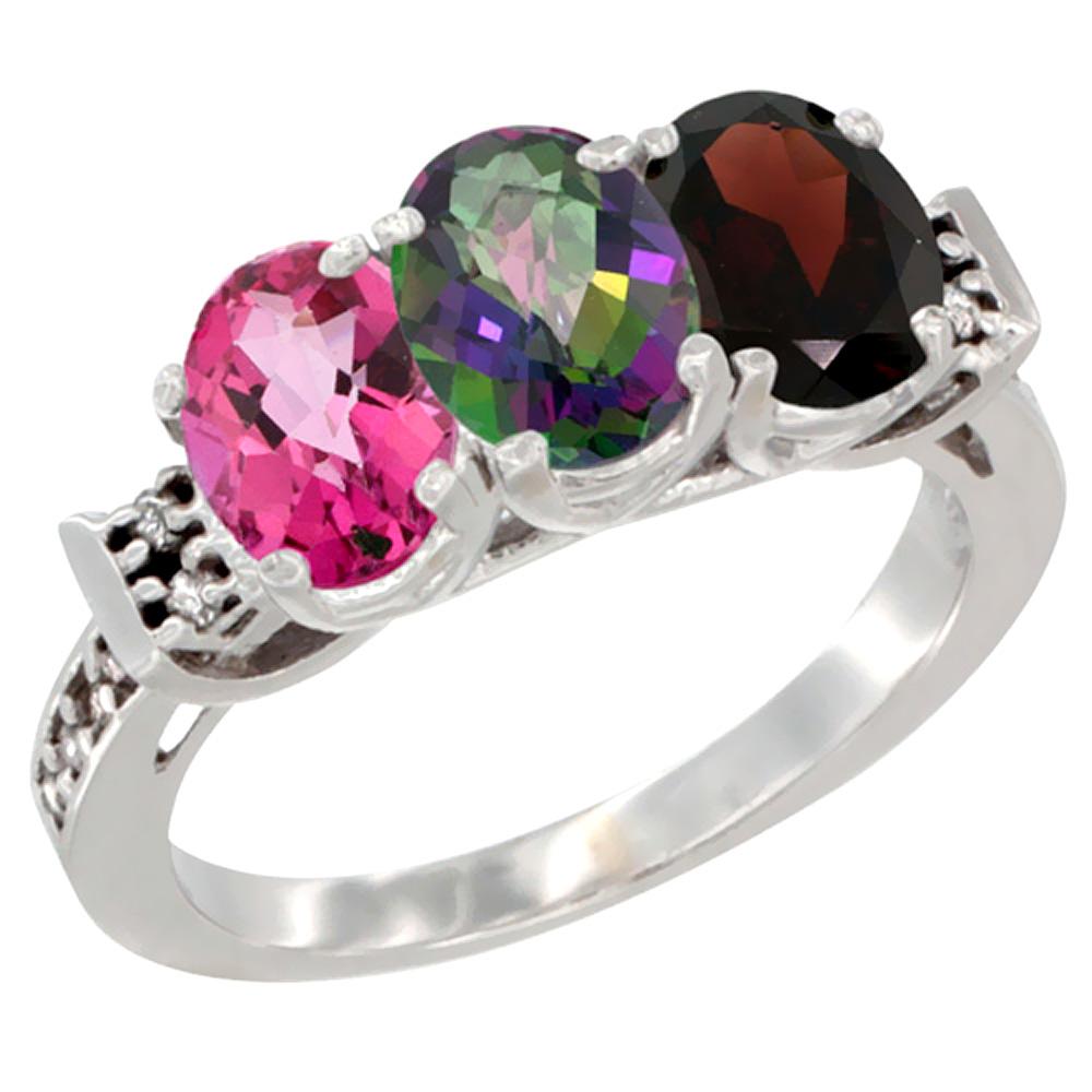 10K White Gold Natural Pink Topaz, Mystic Topaz & Garnet Ring 3-Stone Oval 7x5 mm Diamond Accent, sizes 5 10 by WorldJewels