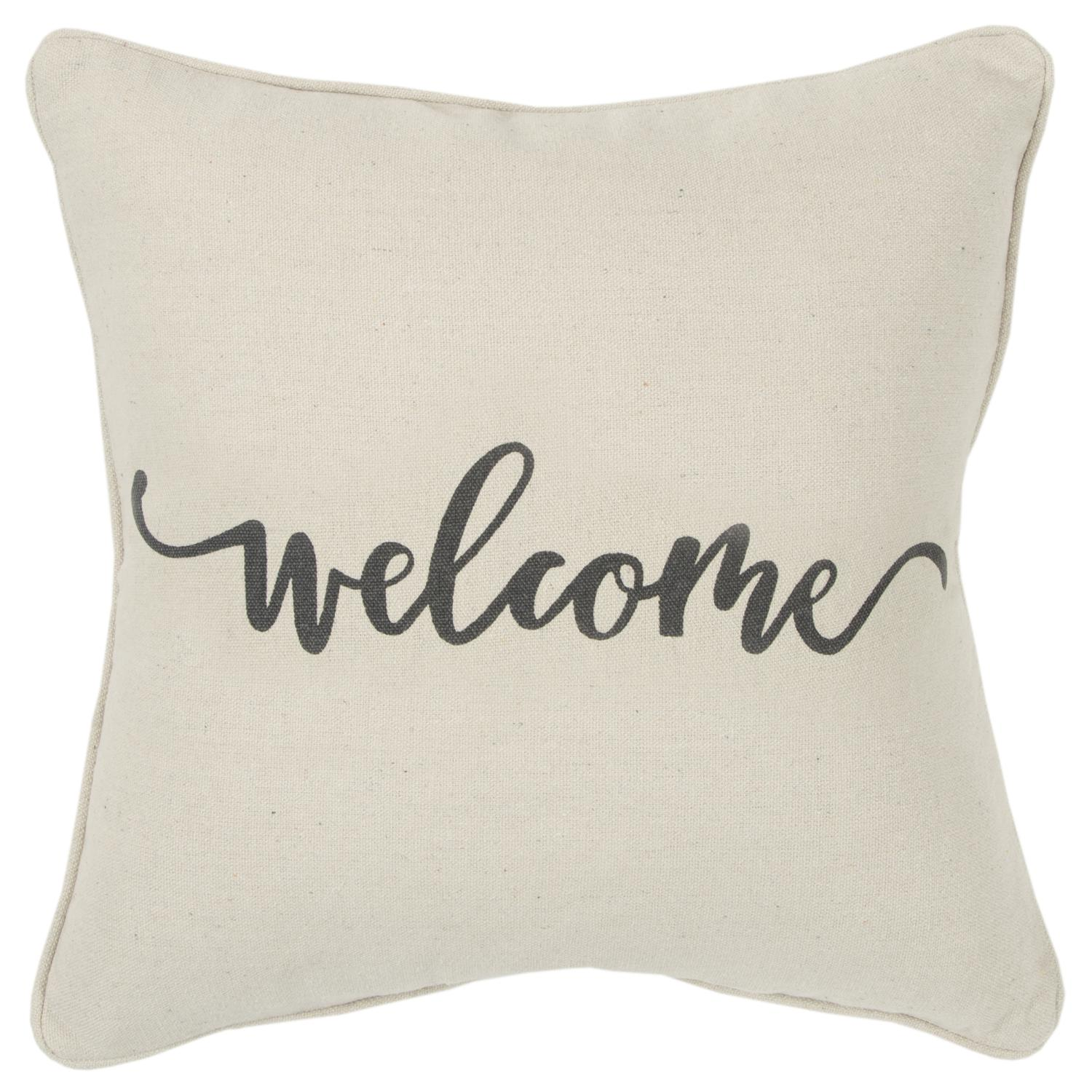 """Rizzy Home Holiday """"Welcome"""" Poly Filled Decorative Throw Pillow, 20"""" x 20"""", Natural"""