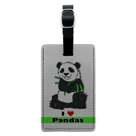Graphics and More I Love Heart Pandas - Bear China Bamboo Rectangle Leather Luggage ID Tag (Chinese Bamboo Hats)