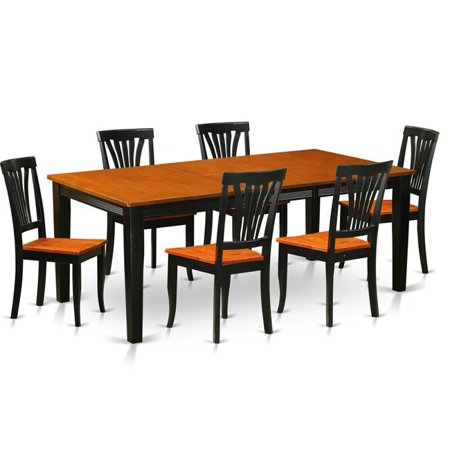 East West Furniture QUAV7-BCH-W Wood Seat Dining Room Set - Table with 6 Solid Chairs, Black & Cherry - 7 Piece