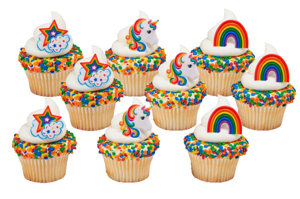 12pack Rainbow Unicorn Cupcake Decoration Rings , Walmart.com