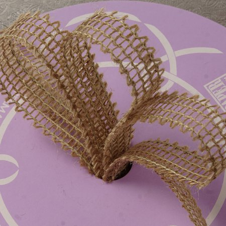 Kraft Natural 7/8 inches x 25 yards Ragged Edge Wired Burlap Solid Colored - Colored Resin Ribbon