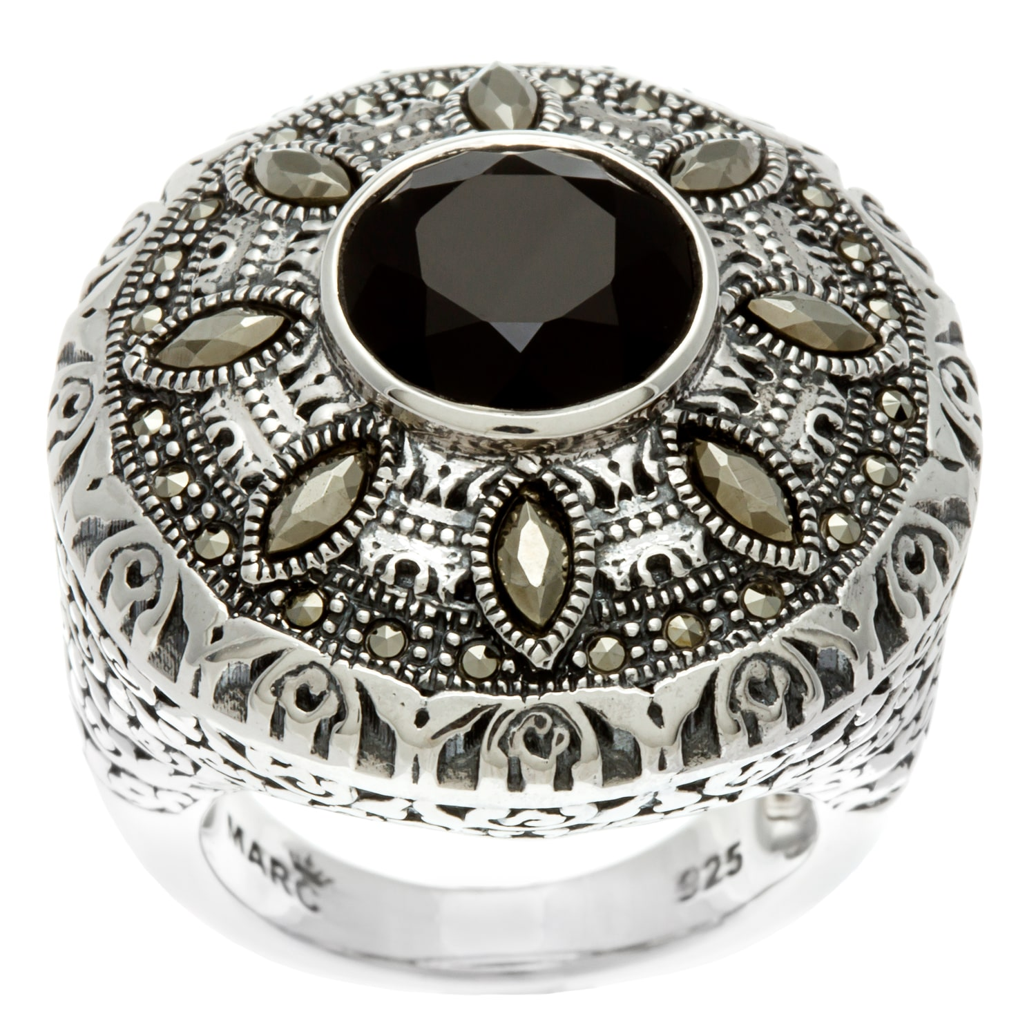MARC  Sterling Silver Black Onyx and asite Round Ring