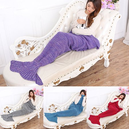 12queen Knitting Handmade Fish Mermaid Tail Shape Sofa Bed Sleeping Bag Quilt Blanket
