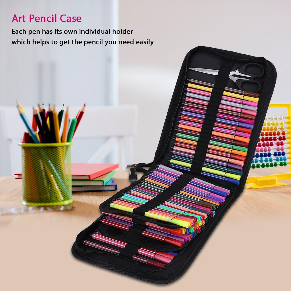 Four-Layer 72 Holes Square Sketch Art Drawing Pencil Case Organizer Pure Color Pen Bag for Student Teens Girls Adults Pencil Case 1#
