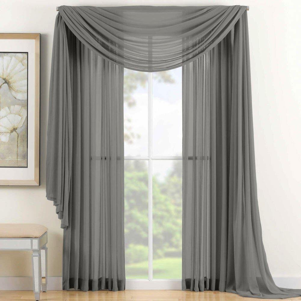 "Qutain Linen Solid Viole Sheer Curtain Window Panel Drapes Set of Two (2) 55"" x 84 inch - Gray"
