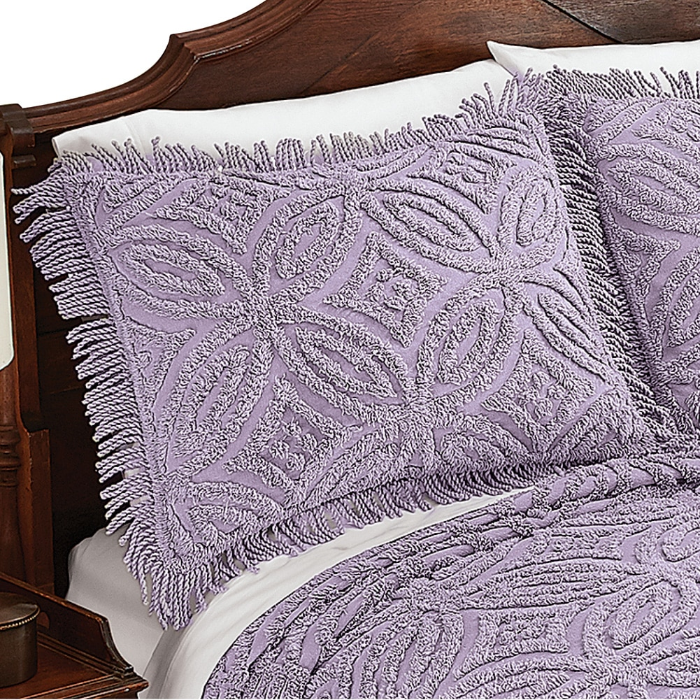 Cynthia Chenille Wedding Ring Design Pillow Sham, Sham, Lavender